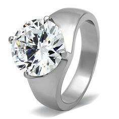 Women's 11 Carat Stainless Steel Big Solitaire CZ Engagement Ring Size 5-10 #MaiJewelryJewelry #Solitaire