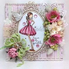 Isn't this image just the cutest? You can preorder her and many others on the Noor store right now and you should see the selection! Die Cut Cards, Little Darlings, Grapevine Wreath, I Card, Birthday Cards, Shabby Chic, Card Making, Sparkle, Girly