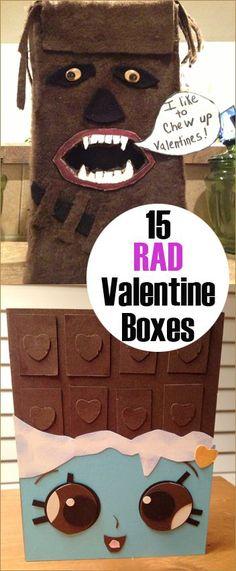 15 Rad Valentine Boxes.  Create the coolest Valentine Box for school.  Great Valentine boxes for boys and girls.