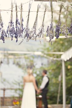 weding diys | outdoor-diy-wedding-ceremony-lavendar-décor the lavender could be the top of the wooden/tree branch arch you are standing under(white birch)