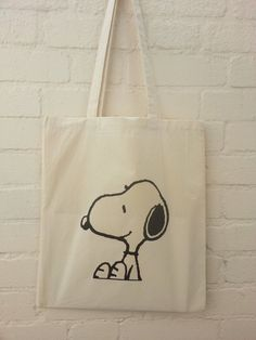 Sitting Snoopy Natural Cotton Tote Bag by BYKI on Etsy