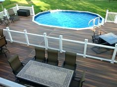 Above ground pools have always been the best and the cheapest option to build swimming pool. Here's the reason why you should invest in above ground pool rather than in-ground ones. We have above ground pool tips and ideas. Above Ground Pool Fence, Best Above Ground Pool, Above Ground Pool Landscaping, Backyard Pool Landscaping, Landscaping Ideas, Deck Ideas For Above Ground Pools, Backyard Ideas, Oval Above Ground Pools, Acreage Landscaping