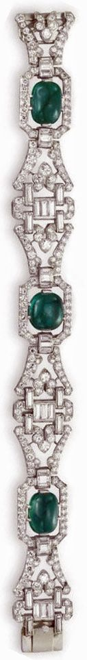 Art Deco diamond and emerald bracelet by J.E. Caldwell, circa 1930. Via Diamonds in the Library.