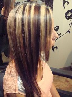 Chunky blond highlights with dark and caramel low lights