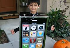 Get how-to instructions for making the DIY cardboard box iPhone costume that was a finalist in the 2010 Inhabitots Green Halloween Costume Contest.