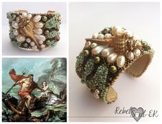 Beaded cuff natural shell and pearls summer look RebelSoulEK bracelet Poseidon is looking for a wife