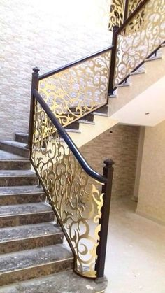 Africa's First and Biggest Laser Cut Building Addition Manufacturer Staircase Interior Design, Staircase Railing Design, Modern Stair Railing, Staircase Handrail, Balcony Railing Design, House Staircase, Modern Stairs, Drawing Room Design, Pooja Room Door Design
