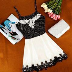 Spaghetti Strap Dots Lace Sleeveless Short Dress