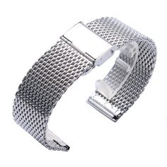 High Quality 20/22MM Width Mesh Silver Color Stainless Steel Wrist Watch Strap Band for Women Mens Watches  #Affiliate
