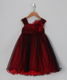 Red & Black Flower Dress - Toddler & Girls on zulily. For little flower girls or guests at a dark wedding.