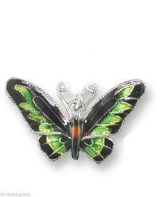 Zarah Butterfly CHARM Rajah Brooke S Birdwing Sterling Silver Enamel - Free Ship #ZarahJewelry