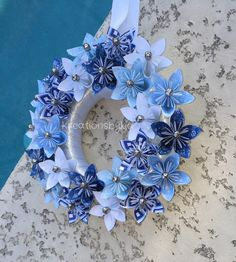 Origami Paper Flower Wreath / wedding decorations origami