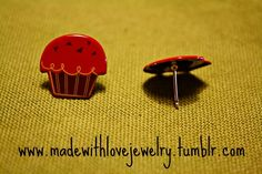 Red Cupcake Stud Earrings  If you would like to see more of my pieces, please visit my Facebook Page for updates, pictures, giveaways and more!   www.facebook.com/pages/Made-With-Love-Handmade-Jewelry-by-Shana/129313577493     Follow my designs on Tumblr!:  www.madewithlovejewelry.tumblr.com  Or visit my Etsy Shop:   http://www.etsy.com/shop/Shanana