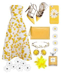 """""""Yellow flowers"""" by mercantichiara on Polyvore featuring moda, The 2nd Skin Co., Valentino, Kate Spade, Monsoon, Cult Gaia e Chanel"""