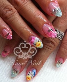 Daisy and Daffy Duck Nails. www.himenails.com, Japanese Nail Artist, Tustin, Orange County, CA.