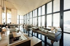 The Armani Hotel Milano. The reception area is on the seventh floor.