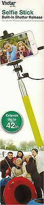 Vivitar Green Selfie Stick Extends up to 42 Inches Shutter Release Apple Android