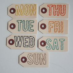 days of the week small hand stitched project by elizabethrosemond, $6.00 #BPCPLcommunity	#Projectlifeideas 	#Projectlife