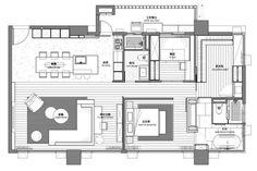 公私領域1:1切割,呈現大器的空間感。平面圖提供_L'atelier Fantasia繽紛設計 Detail Architecture, Architecture Plan, Apartment Layout, Apartment Plans, Craftsman Floor Plans, House Floor Plans, Single Apartment, Architectural Floor Plans, Interior Design Layout
