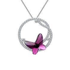 Clearine Women's 925 Sterling Silver 'Butterfly Aerial Hoop' CZ Wedding Bridal Pendant Necklace Adorned with Swarovski Crystals