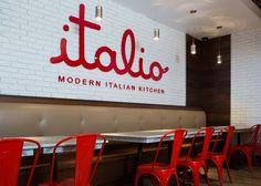 restaurant ideas Italio, a fast-casual Italian res - Italian Restaurant Logos, Concept Restaurant, Red Restaurant, Modern Restaurant, Restaurant Branding, Restaurant Ideas, Deco Pizzeria, Workspaces Design, Italian Cafe