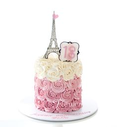 An ombre rose buttercream swirl 18th Birthday cake topped with a hand drawn Eiffel tower.