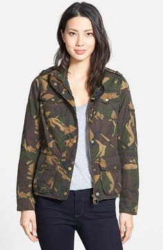 Barbour 'Valiant' Camo Print Waxed Cotton Utility Jacket available at #Nordstrom