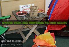 Printable S'Mores Trail Mix Rebus Recipe for preschool and kindergarten