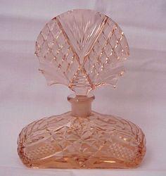 Faceted Peach Czech Perfume Bottle - Circa 1930