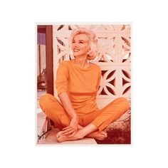 Pre-owned Marilyn Sitting Cross-Legged ($1,800) ❤ liked on Polyvore featuring art and orange