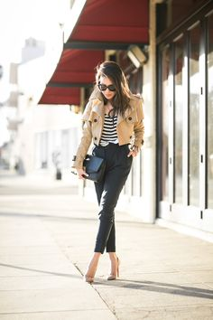Mix Fall :: Autumn look - cropped trench and stripes