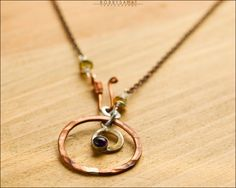 Sterling Silver & Copper Ring Necklace With Amethyst Stone - Jewelry by Jason Stroud. $48.00, via Etsy.