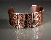 Pulsera brazalete de cobre grabado hecha a mano #CB658 tamaño mediano / grande, 123team