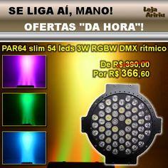 OFERTA! Canhão LED PAR64 3W Slim RGBW DMX Áudio-Rítmico: De R$ 390 Por R$ 366,60 em http://www.aririu.com.br/canhao-led-par-64-slim-54-leds-3w-rgbw-dmx-512-audio-bivolt-117xJM