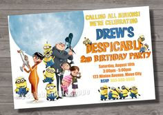 despicable me thank you card to match despicable me birthday party, Party invitations