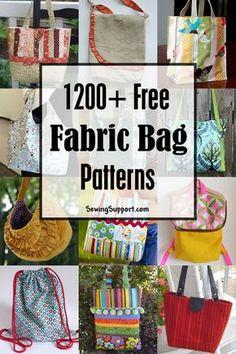 Lots of free bag patterns to sew. #bagpatterns #freesewingpatterns #diygifts