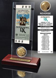 Super Bowl 9 Ticket & Game Coin Collection - Pittsburgh Steelers - NEW