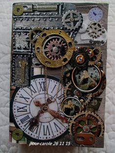 steampunk la rochelle Steampunk Cards, Mode Steampunk, Steampunk Lamp, Mixed Media Canvas, Mixed Media Art, Mix Media, Gear Art, Altered Book Art, Ceramics Projects