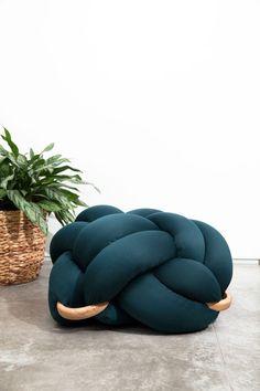 Medium Knot floor Cushion in Light grey, Knot Floor Pillow, Modern ...
