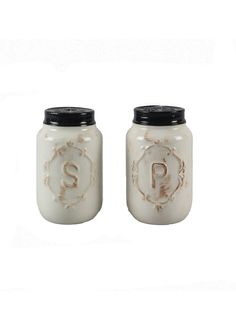 Add some stylish decor to your kitchen with this 2 piece set of off white mason jar salt and pepper shakers. - Material: Ceramic - Set Include: 2 Piece - Care Instruction: Hand Wash - Color: Off White