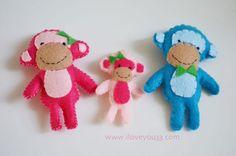 Felt Monkey Family
