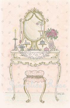 Dressing Table 6 1/2 x 10 Art Print by Jenneliserose on Etsy