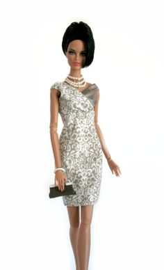 Silvery Gray and White Dress for Barbie by Chic Barbie Designs