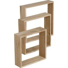 3 étagères cubes chêne massif STYLE,L30xP30cm; L26.5xP26.5cm;L23xP23cm, ép. 14mm