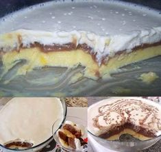 INGREDIENTES PRIMEIRA CAMADA: 1 lata de leite condensado 3 latas da mesma medida de leite de vaca 2 colheres de maizena 3 gemas SEGUNDA CAMADA: 4 colheres de sopa achocolatado 2 colheres de sopa de açúcar 3 xícaras de leite de vaca 2 colheres de... Pudding Recipes, Crepes, Tiramisu, Baking Recipes, Camembert Cheese, Buffet, Bakery, Food And Drink, Yummy Food