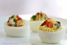 lobster and bacon stuffed deviled eggs    http://www.1finecookie.com/2012/05/baseball-deviled-eggs-stuffed-with-lobster-bacon-get-to-fourth-base-with-this-recipe/#