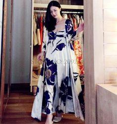 Free Shipping Women s Long Robe Royal Purple Blue Sleepwear Silk Flower Satin  Nightgown Two Pieces Set ec93ce7bc