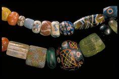 Viking era necklace of glass beads found in Sweden. www.historiska.se