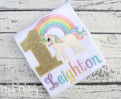 Unicorn Birthday Shirt - Rainbow Unicorn - Girls Unicorn Shirt - Pink Gold - Pastel Rainbow - Applique Shirt - Baby Unicorn - First Birthday by ThePinkDaisyBoutique on Etsy https://www.etsy.com/listing/475715174/unicorn-birthday-shirt-rainbow-unicorn
