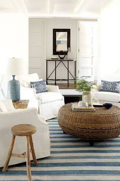 Why You Need a Touch of Modern Decor in Your Home Coastal Bedrooms, Coastal Living Rooms, Living Room Interior, Living Room Decor, Coastal Interior, Coastal Decor, Interior Design, Interior Stairs, Coastal Cottage